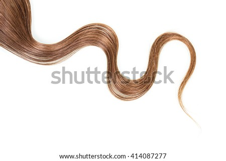 A strand of long, frizzy, brown hair isolated on white background. - stock photo
