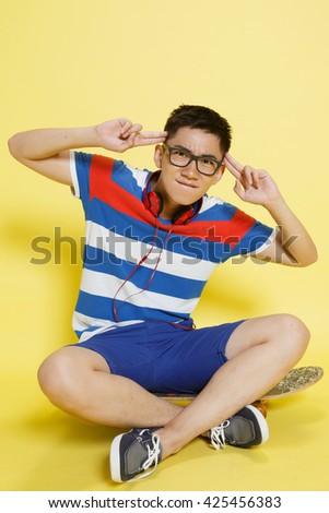 A strange young man - stock photo