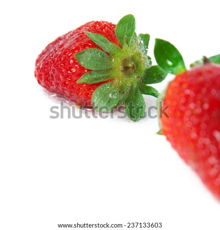 A strawberry, macro shot of texture with shallow depth of field - stock photo