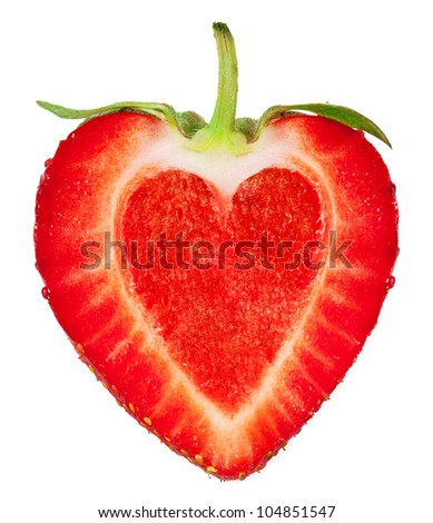 A strawberry with a heart inside. isolated on a white background - stock photo