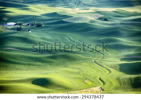 A stream flows around the wheat fields and hills of the farmland in the Palouse area of Eastern Washington and leads to a farm house in the upper left. - stock photo