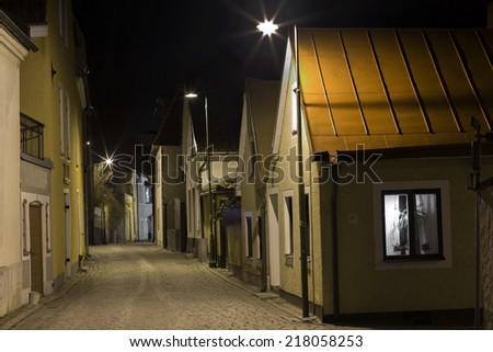 A street during the night in Visby Gotland Sweden - stock photo