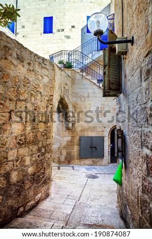 A street in Armenian Quarter, Jerusalem - stock photo
