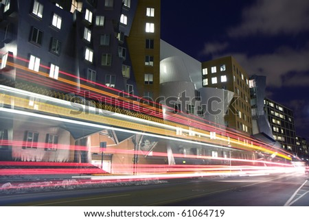 A Street in Cambridge city in Massachusets with Strata Center building - stock photo