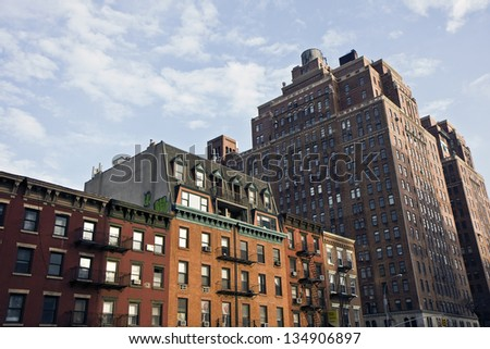 A street in the Village,Manhattan,  New York - stock photo