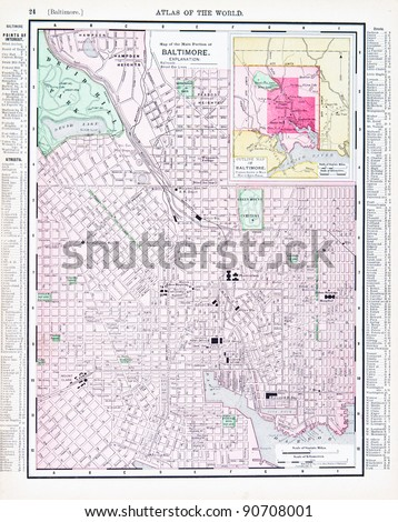 A street map of Baltimore, Maryland, USA from Spofford's Atlas of the World, printed in the United States in 1900, created by Rand McNally & Co. - stock photo