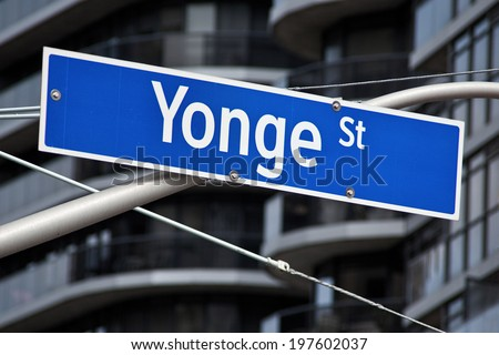 A street sign for the longest street in the world, Yonge Street in Toronto Ontario. - stock photo