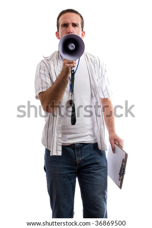 A strict coach is using his megaphone to yell at the viewer, isolated against a white background - stock photo