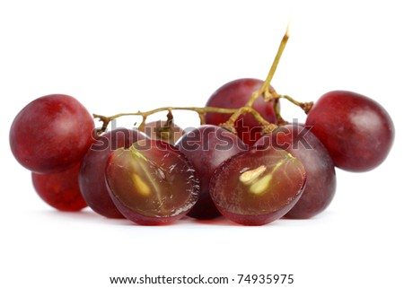 A string of grapes isolated on white background. - stock photo