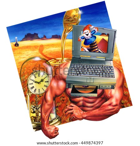 A strong man painting with a laptop for a head. A jack in the box pops out from the computer screen. In the background a desert with an antique clock and a melting coin.  - stock photo