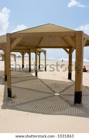 A structure on the beach - stock photo