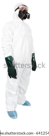 A studio profile of a bio hazard materials man on a white background. - stock photo