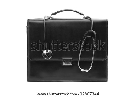 A studio shot of a doctor's case with a stethoscope isolated on white background - stock photo