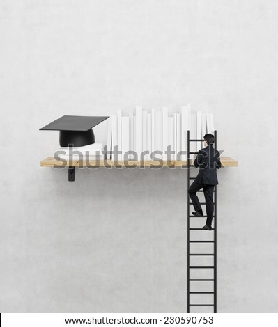 A studying climbing up to the book shelf. A concept of education process. - stock photo