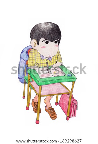 A studying pupil - stock photo