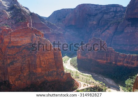 A stunning view of Zion Canyon from Observation Point, from which the famous Angles Landing is also visible. - stock photo