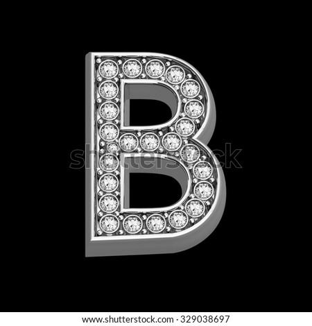 "A stunningly beautiful ""B"" set in diamonds and silver.  - stock photo"
