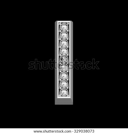 """A stunningly beautiful """"I"""" set in diamonds and silver.  - stock photo"""