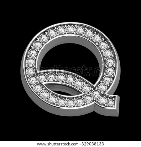 """A stunningly beautiful """"Q"""" set in diamonds and silver.  - stock photo"""