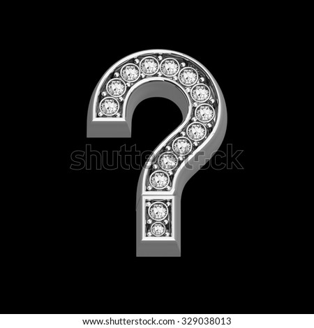 """A stunningly beautiful """"question mark"""" set in diamonds and silver.  - stock photo"""