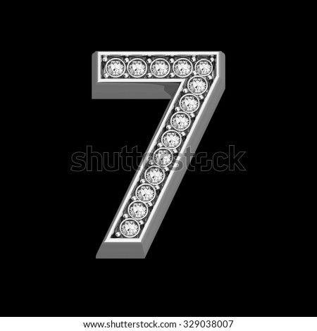 """A stunningly beautiful """"7"""" set in diamonds and silver.  - stock photo"""