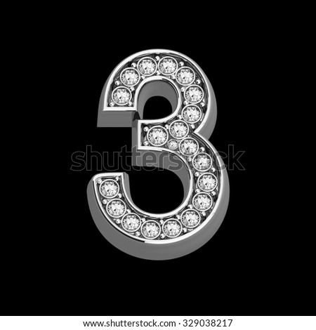 """A stunningly beautiful """"3"""" set in diamonds and silver.  - stock photo"""