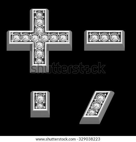 "A stunningly beautiful ""symbols"" set in diamonds and silver.  - stock photo"