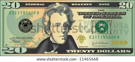 A stylized drawing of a 20 dollar bill banknote - stock photo