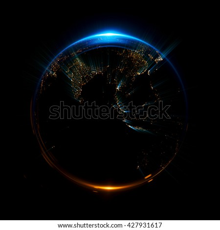 A stylized image of a planet  Earth. 3d rendering. city light map. Abstract lights of technology. Abstract ring background with luminous cities. Space for message. Maps from NASA imagery - stock photo