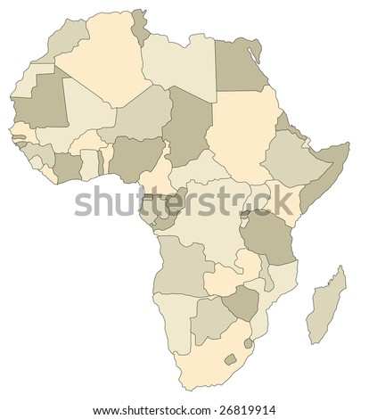 A stylized map of Africa showing the different countries. - stock photo