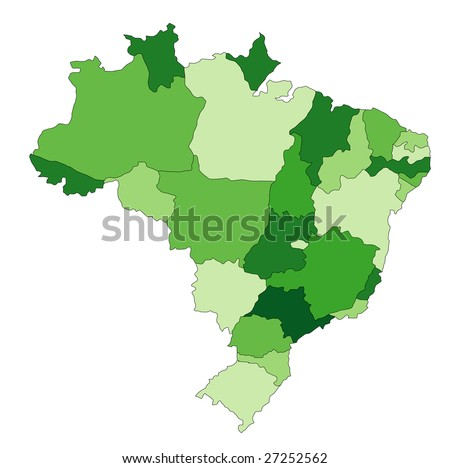 A stylized map of Brazil showing the different provinces. All isolated on white background. - stock photo
