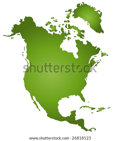 A stylized map of North America in green tone. All isolated on white background. - stock photo