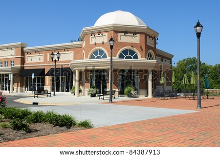 A suburban shopping center architecture fragment - stock photo