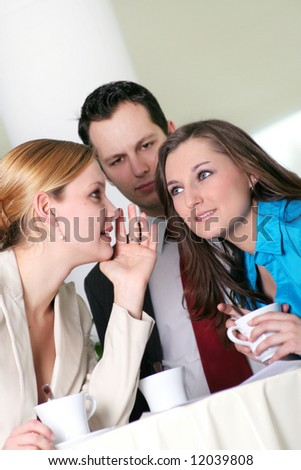 a successful young business team is standing in a foyer - stock photo