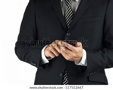 A suited man using a business tool isolated on white background - stock photo