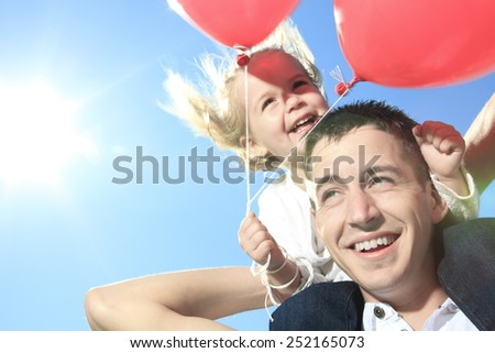 A summer holidays, celebration, children and father concept - stock photo