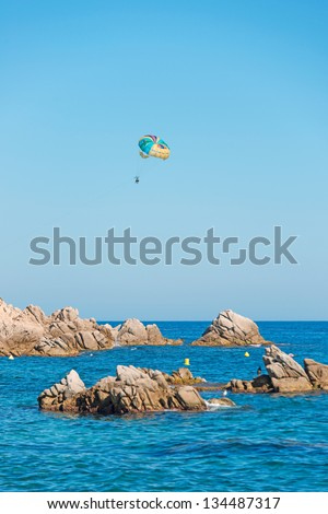 A summer sport - parasailing - stock photo