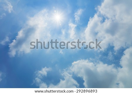 A sun on sky with clouds - stock photo