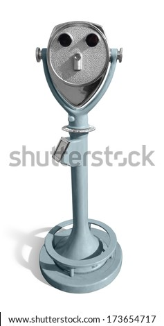 a sunny illuminated coin telescope in white back with shadow - stock photo