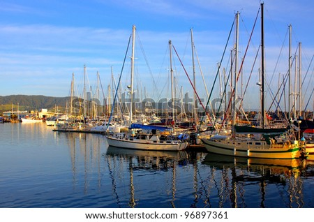 a sunrise view of Coffs Harbour Marina, Australia - stock photo