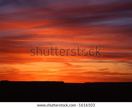 A sunset photographed in Grand Canyon National Park, Arizona. - stock photo