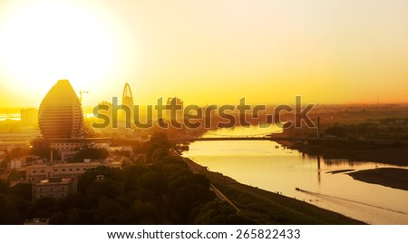 A sunset view of Khartoum, Sudan - stock photo