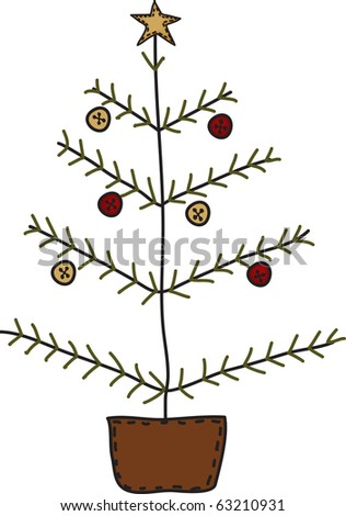 a sweet country Christmas tree - stock photo