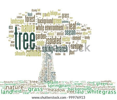a symbol of tree is composed of text keywords - stock photo