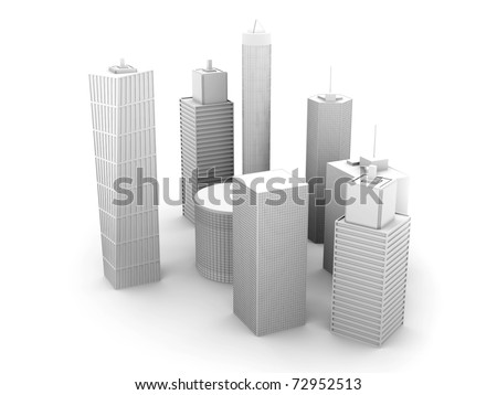 A symbolic city Illustration. 3D render. Skyscrapers isolated on white. - stock photo