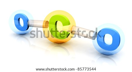 A symbolic CO2 Molecule, responsible for global warming and pollution. 3D rendered Illustration. - stock photo