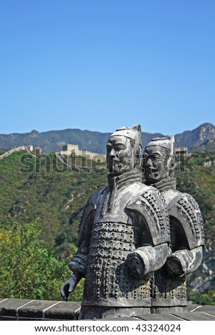a symbolic statue as a terracota soldier to guide and secure the great wall, beijing, china - stock photo