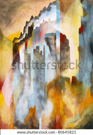 A symbolist style painting based on a view of Edinburgh Castle - stock photo