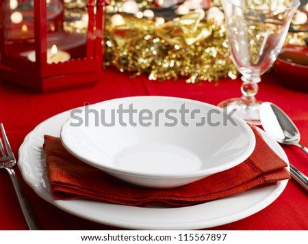 A table set for a holiday meal. - stock photo