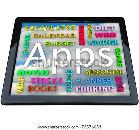 A tablet computer with many words symbolizing the different types of application software you can download on this new computing device - stock photo